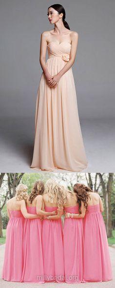 Beautiful Pearl Pink Bridesmaid Dresses, Long Bridesmaid Dresses, Chiffon Bridesmaid Dresses, Sweetheart Bridesmaid Dress, Empire Bridesmaid Dresses