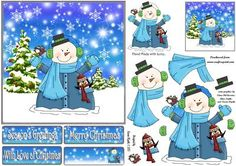 Snowman Hugs for Christmas on Craftsuprint designed by Karen Wyeth - A cheerful quick card Christmas topper with decoupage items/layers, a matching smaller gift tag topper and various sentiment panel toppers. xk - Now available for download!