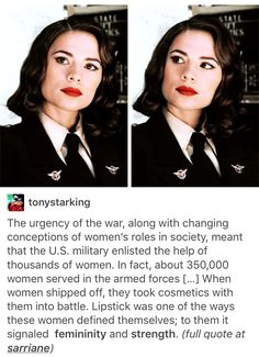 Women in WWII did not wear lipstick as a choice. It was a requirement based on the regulations of the time. Some women liked it and some hated it. It was forced upon women and I think it's sad that people's lack of research is perpetuating the idea that make up is the only way women can establish their independence and uniqueness.