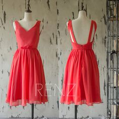 2016 Short Red Bridesmaid dress, Chiffon Wedding dress, Backless Red Prom dress, A Line Cocktail dress, Party dress knee length (F141)