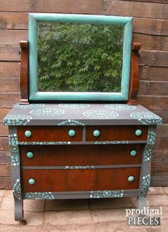 Stenciled Empire Dresser with Rustic Brands Knobs by Prodigal Pieces | www.prodigalpieces.com