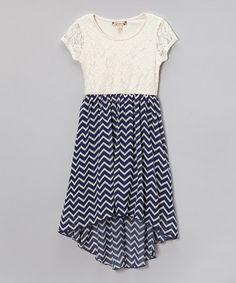 Look at this #zulilyfind! Ivory Lace & Navy Zigzag Hi-Low Dress by Speechless #zulilyfinds