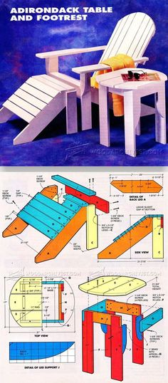 Adirondack Table and Footrest Plans - Outdoor Furniture Plans and Projects | WoodArchivist.com