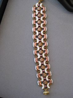 Stunning Beige and Copper Arco Silky and Pearl Beaded