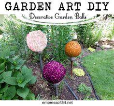 Garden Art DIY Decorative Garden Balls - tutorial #quirky #garden
