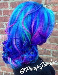 Purple blue dyed hair