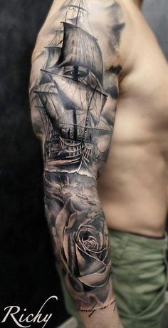 51 cool sleeve tattoo designs for your arm 34 Tattoos Arm Mann, Maori Tattoos, Forearm Tattoos, Tattoo Neck, Tatoo Pirate, Pirate Ship Tattoos, Trendy Tattoos, Tattoos For Guys, Cool Tattoos