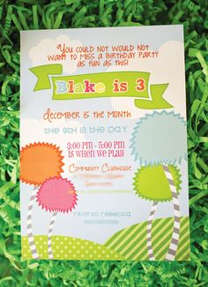 Colorful Dr. Seuss The Lorax Themed Birthday Party: The Invite - Invitation Idea