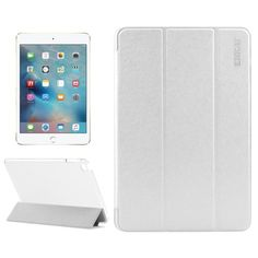 For+iPad+Mini+4+ENKAY+White+Silk+Texture+Smart+Cover+Leather+Case+with+3+Fold+Holder