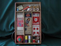 Ideas Sewing Box Vintage Printer Tray For 2019 Altered Boxes, Altered Art, Sewing Projects For Kids, Sewing Crafts, Sewing Room Decor, Basket Crafts, Vintage Sewing Notions, Sewing Box, Vintage Crafts