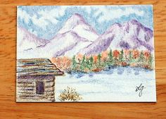 ORIGINAL ACEO Colored Pencil Landscape Painting by MyHumbleJumble