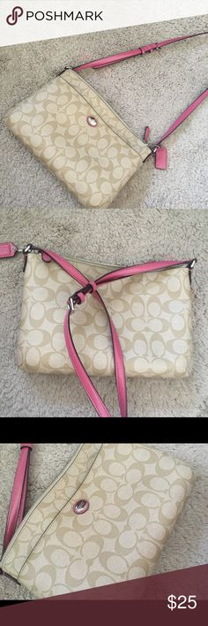 Coach Across The Body purse Light brown, coach printed. Long adjustable pink/magenta shoulder strap. Buckle adjust. One large pocket, one small frontal pocket. About 7 in by 9 in. Coach Bags Crossbody Bags