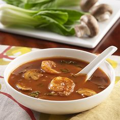 Red Curry Shrimp Soup: Red curry paste combined with tomato sauce, broth, vegetables and shrimp for a easy soup recipe