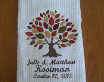 Personalized Kitchen Towel with Fall Tree Design, Cotton Anniversary, 2nd Anniversary, Personalized Wedding Gift, Bridal Shower Gift