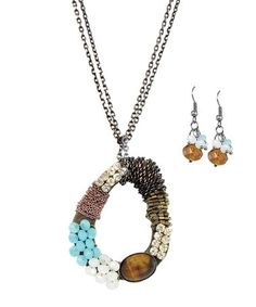 Take a look at this Silver Rhinestone & Tiger Eye Oval Necklace & Drop Earrings by LOLO by New Dimensions on #zulily today!