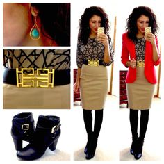 printed blouse red blazer khaki pencil skirt gold belt black tights black booties