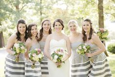 Bridesmaids in Silver Stripes
