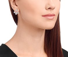 LOVE. Laina Drop Pierced Earring Jackets, White, Rhodium Plating from #Swarovski