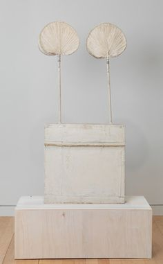 """Cy Twombly. Untitled (<i>Funerary Box for a Lime Green Python</i>). 1954. Wood, palm leaf fans, house paint, cloth, and wire. 55 x 26 1/4 x 5"""" (140 x 66 x 12.5 cm). Promised gift of Marie-Josée and Henry R. Kravis. © Cy Twombly. Courtesy Gagosian Gallery. Photography by Robert McKeever"""