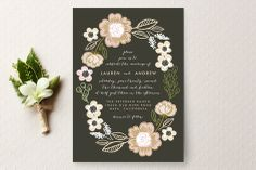 Botanical Wreath Wedding Invitations by Alethea and Ruth at minted.com