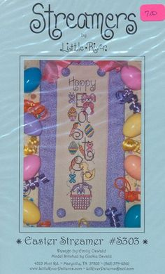 Easter Streamer - (Cross Stitch) Find your next East Cross Stitch design at Cobweb Corner and save 20% off your first order with coupon WELCOMECC #crossstitch #easter