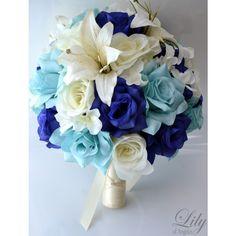 Artificial Silk Flower Wedding Bridal Bouquets Navy/Aqua/Ivory