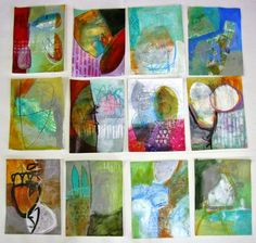 "collage journeys - Jane Davies working on ""100 Drawings on Cheap Paper"" - all on 9x12 drawing paper."