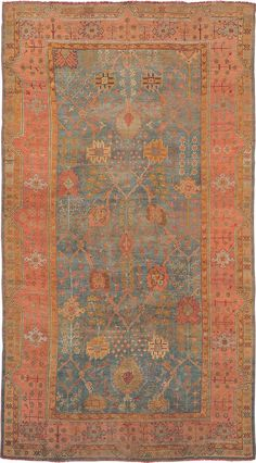 "ANTIQUE OUSHAK Origin: TURKEY Size: 8' 2"" x 14' 7"" Rug ID # 653"