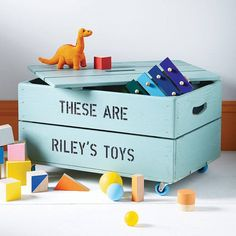 Personalised Kids Toy Box Storage Crate This beautiful personalised toy box wooden storage crate gives a lovely homely feel to the problem of organising your children's toys and books. Living Room Toy Storage, Baby Toy Storage, Toy Storage Boxes, Crate Storage, Kids Storage, Storage Ideas, Storage Containers, Wooden Storage Crates, Wooden Toy Boxes