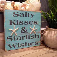 Beach+Sign+Sandy+Kisses+&+Starfish+Wishes+by+justbeachyshop,+$32.50