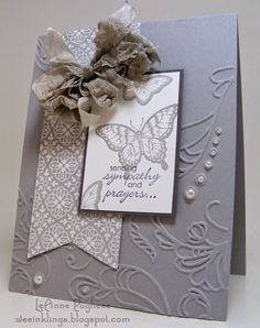 All is Calm DSP actually has snowflakes on it, but it is still appropriate enough to use for a sympathy card. Mount the banner on a Smoky Slate card, add a couple of butterflies from Papillion Potpourri, and a sentiment from Petite Pairs. Emboss with Elegant Lines and add some pearls. Dye white seam binding with Sahara Sand ink, to complement the Smoky Slate. add a strip of washi tape from 11/2014 Paper Pumpkin along with the inside sentiment