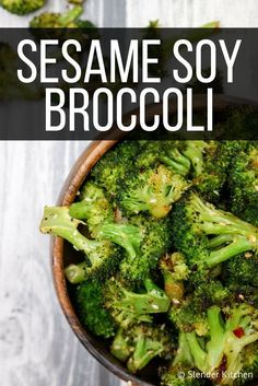 Soy Broccoli Sesame Soy Broccoli Slender Kitchen Works for Clean Eating Gluten Free Low Carb Paleo Vegan Vegetarian Weight Watchers and diets 85 CaloriesSesame S. Asian Side Dishes, Healthy Side Dishes, Side Dish Recipes, Vegetarian Side Dishes, Clean Eating Vegetarian, Clean Eating Diet, Healthy Eating, Eating Habits, Broccoli Recipes