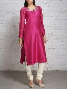 Magenta Zari Embroidered Chanderi Georgette Kurta - All About Dress Indian Style, Indian Dresses, Indian Outfits, Indian Attire, Indian Ethnic Wear, Feeding Dresses, Kurta Designs Women, Salwar Designs, Salwar Pattern