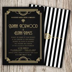 Art Deco Great Gatsby Roaring Twenties by JeannineAubreyDesign Great Gatsby Party, The Great Gatsby, Great Gatsby Invitation, Invitation Set, Invitation Design, Art Deco Wedding Invitations, Party Invitations, Invites, Invitation Templates