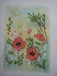 ELLA'S CRAFT CREATIONS: 'POPPY' watercolour - Links to tutorial for watercolor on fabric for embroidery!