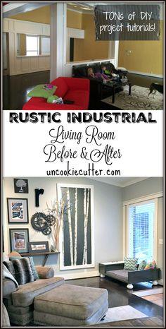 Rustic Industrial Living Room Before & After - UncookieCutter.com