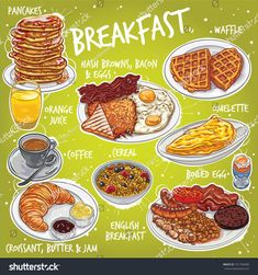 Hand Drawn Vector Illustration Various Breakfast Stock Vector (Royalty Free) 701760400 Cute Food Art, Love Food, Menue Design, Real Food Recipes, Yummy Food, Food Porn, Cute Food Drawings, Food Sketch, Food Painting
