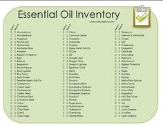 Essential Oil Inventory Printable