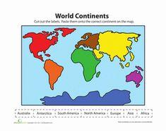 Kindergarten Social Studies Worksheets: Label the Continents Worksheet