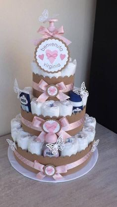 3 Tier Baby Girl Pink And Gray Diaper Cake Baby Shower