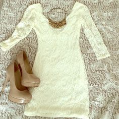 Urban Outfitters white lace dress Adorable white lace dress, quarter sleeve, size small, cute with gold accessories and nude pumps Pins & Needles Dresses Mini