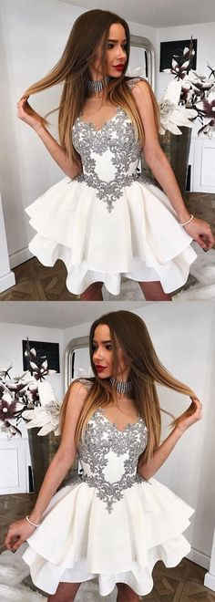Short Gray Lace Appliques Scoop Neckline Ruffle Satin Homecoming Dresses #homecomingdresses #homecomingdressesshort