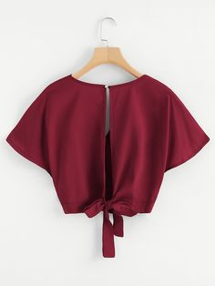 Shop Split Back Wrap Crop Top at ROMWE, discover more fashion styles online. Teen Fashion Outfits, Look Fashion, Trendy Outfits, Girl Outfits, Summer Outfits, Fashion Dresses, Cute Outfits, Womens Fashion, Crop Tops For Kids