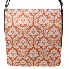 White On Orange Damask Flap Closure Messenger Bag (Small)