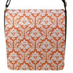 White On Orange Damask Flap Closure Messenger Bag (Small)