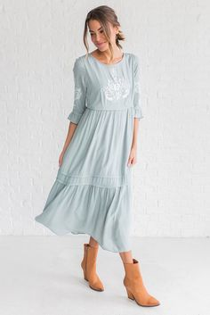 DETAILS: Beautiful embroidered dress with ruffle detailing Light sage color Model is wearing a small Modest Dresses Casual, Modest Outfits, Cute Dresses, Clad And Cloth, Dress Skirt, Dress Up, Modest Summer Fashion, Girl Fashion, Fashion Outfits
