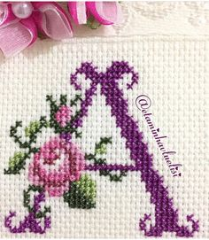 Cross Stitch Alphabet, Counted Cross Stitch Patterns, Cross Stitch Designs, Cross Stitch Embroidery, Cross Stitch Rose, Cross Stitch Flowers, Tissue Paper Flowers, Baby Girl Crochet, Cross Stitching