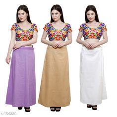 Ethnic Bottomwear - Petticoats Trendy Cotton Women's Petticoat Combo (Set Of 3)  *Fabric* Cotton 