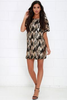 London Stage Black and Gold Sequin Shift Dress at Lulus.com!