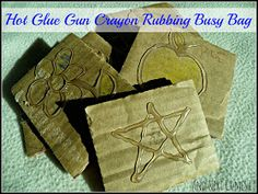 Hot Glue Gun Crayon Rubbing Busy Bag from And Next Comes L